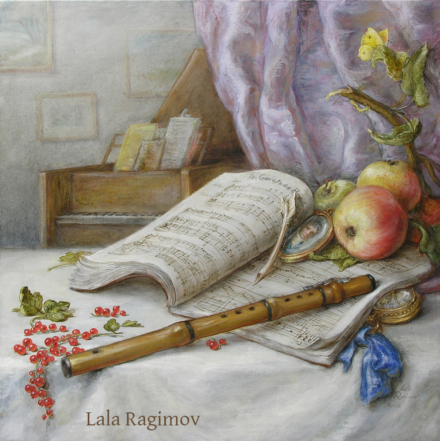 Still life, CD cover for flutist James Strauss Beethoven album, oil on linen, painting by Lala Ragimov