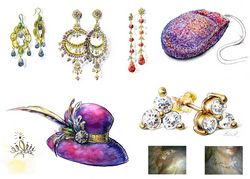 JEWELRY fashion illustration by Lala Ragimov watercolor watercolour