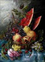 Still life on the voice of Cecilia Bartoli, oil on panel painting by Lala Ragimov
