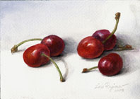Cherries watercolor still life painting by Lala Ragimov