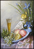 Still life, on the voice of Patrizia Ciofi oil on panel painting by Lala Ragimov