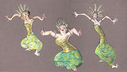 balinese dance caricature painting by Lala Ragimov