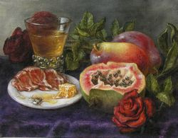 Still life on the voice of Vivica Genaux, oil on linen, painting by Lala Ragimov