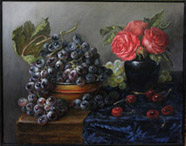 Still life, on the voice of Sara Mingardo oil on linen painting by Lala Ragimov