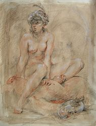 odalisque, life drawing by Lala Ragimov a trois crayons on toned paper