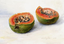 papaya watercolor still ife painting by Lala Ragimov
