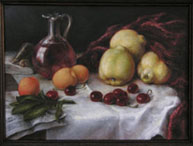 still life, on the voice of Lorenzo Regazzo, oil on linen, painting by Lala Ragimov